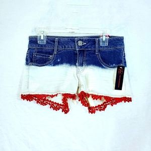 NWT Red, White & Blue Lace Jean Shorts